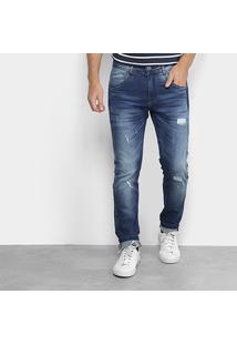 Calça Jeans Skinny Zune Destroyed Masculina - Masculino