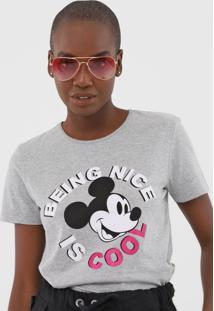 Camiseta Cativa Disney Mickey Cinza - Cinza - Feminino - Algodã£O - Dafiti
