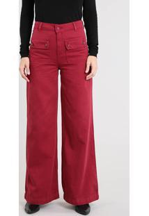 Calça De Sarja Feminina Pantalona Com Bolsos Vinho