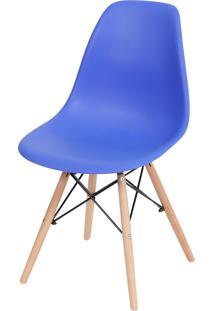 Cadeira Dkr Polipropileno E Base De Madeira Lawang – Azul Escuro