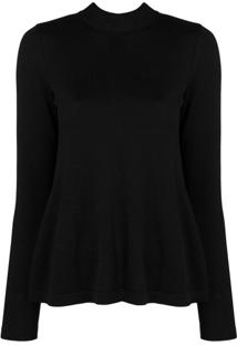 Redvalentino Sheer Panel Knitted Top - Preto
