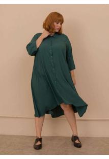 Vestido Chemise Gisela Plus Size Verde Escuro-Exg