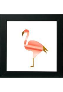 Quadro Flamingo 30X30 C/Vidro-Kapos - Preto