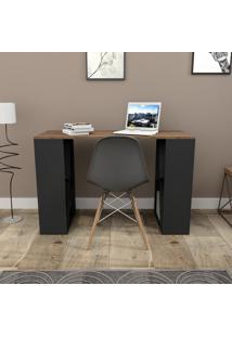 Mesa Para Escritório Com 8 Nichos Press Bliv - Nogueira E Preto
