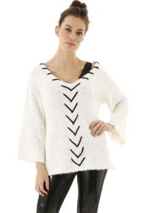Blusa Aha Tricot Decote V Detalhe Frontal De Costura Off- White - Kanui