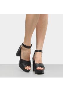 Sandália Shoestock Meia Pata Trama Feminina - Feminino-Preto