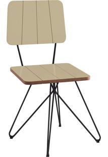 Cadeira Costela Aço Lamina Daf Bege
