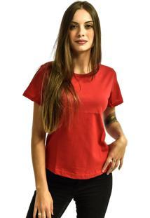 Camiseta Nakia Baby Look Gola Careca Básica Feminina Lisa Manga Curta Vermelho