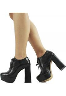 Ankle Boot Lizy Verniz Molhado Feminino - Feminino-Preto
