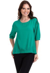 Blusa Kinara Viscose Lisa Com Elástico Verde