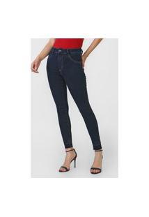 Calça Jeans Biotipo Skinny Pespontos Azul-Marinho