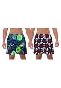 Kit 2 Shorts De Praia Masculino Moda Verão Banho Premium Lemon Caveira Estampado Poliéster Elastano Surf W2
