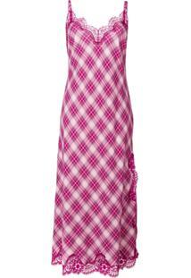 06bc042177ce8 Ir para a loja  Alberta Ferretti Vestido Xadrez Com Recorte De Renda - Rosa