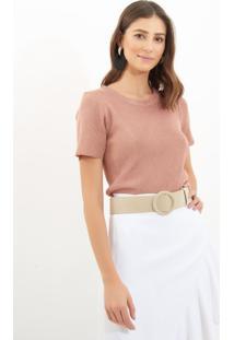 Camiseta Le Lis Blanc Luana Lurex Tricot Rosa Feminina