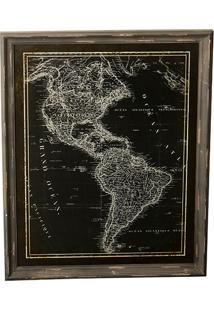 Quadro Decorativo Vintage De Parede Mapa Américas Com Moldura