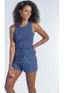Conjunto Regata E Shorts Com Bolso Azul