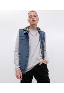 Colete Em Jeans Com Capuz Removível