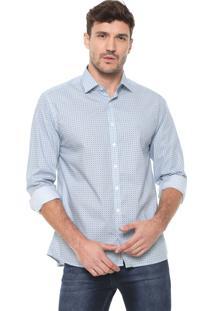 Camisa Dudalina Reta Estampada Azul/Branca