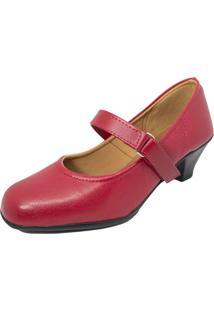 Sapato Boneca Fechado Salto Baixo Confort Vermelho