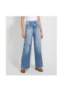 Calça Pantalona Jeans Com Puídos E Rebites Rose