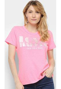 Camiseta Coca-Cola Love Harder Brilho Feminina - Feminino-Rosa