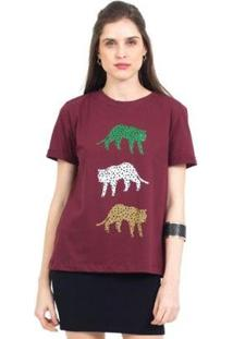 Camiseta 41Onze Tri Cheetah Feminina - Feminino-Vinho