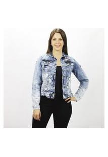 Jaqueta Jeans Feminina Minions Emporio Alex Jeans Azul