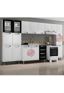 Cozinha Compacta Itanew 11 Portas De Aço Branco/Preto - Itatiaia