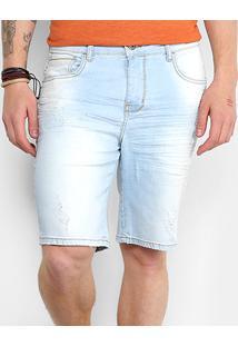 Bermuda Jeans Triton Yuri Estonada Masculina - Masculino-Azul Claro