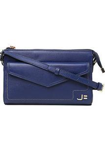 Bolsa Couro Jorge Bischoff Mini Bag Envelope Feminina - Feminino-Marinho