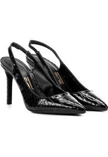 Scarpin Chanel Croco Santa Lolla Salto Alto Feminino - Feminino-Preto