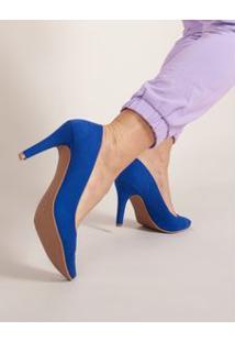 Scarpin Salto Fino Suede - Azul 34