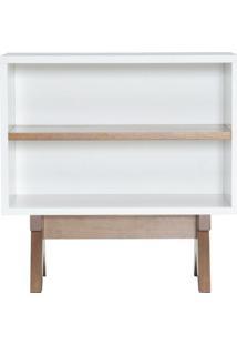Aparador De Sofa Massimo Laqueado Cor Branco Fosco Com Base Nogal 60 Cm (Larg) - 46290 - Sun House