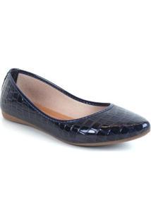 Sapatilha Tag Shoes Croco Verniz Estilo Macia Dia A Dia - Feminino-Marinho