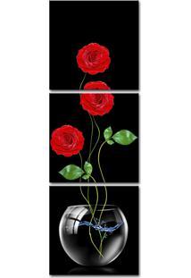 Quadro 50X150Cm Rosas Vermelha Vaso Transparente Decorativo