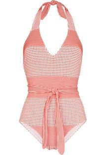 Lemlem Semira Printed Belted Swimsuit - Vermelho