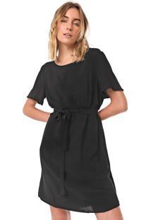 Vestido Cantão Curto Crepe Preto
