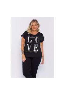 T-Shirt Plus Size Feminina Lisamour Love Preta