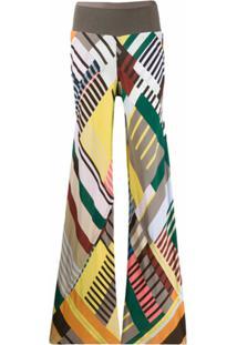 Rick Owens Calça Palazzo Color Block - Cinza