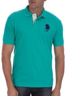 Camisa Polo Masculina Verde Lisa Com Bordado - P