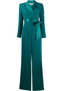 Dvf Diane Von Furstenberg Macacão Com Transpasse Frontal E Cinto - Verde
