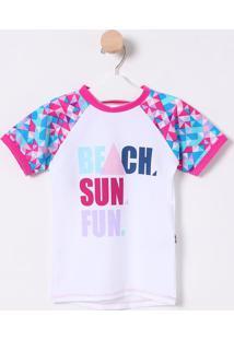 Camiseta ''Beach, Sun, Fun.''- Branca & Rosa- Puketpuket