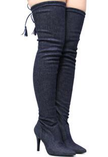 Bota Zariff Shoes Over The Knee Salto Fino Feminina - Feminino-Azul