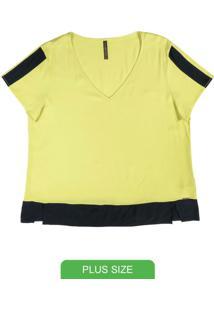 Blusa Em Tecido Com Decote V Verde