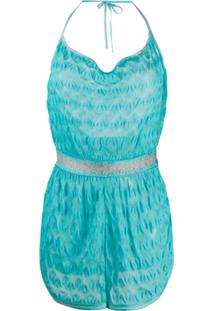 Missoni Mare Embroidered Fitted Playsuit - Azul