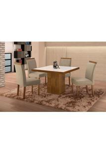 Conjunto De Mesa De Jantar Com 4 Cadeiras E Tampo De Madeira Maciça Arezo Iii Suede Castanho E Cinza