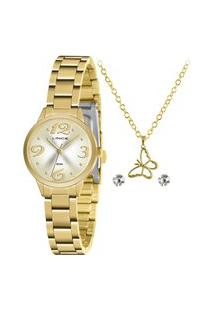 Kit De Relógio Analógico Lince Feminino + Brinco + Colar- Lrgh147L Ky43C2Kx Dourado