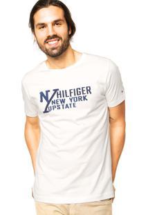 Camiseta Manga Curta Tommy Hilfiger Estampada Off-White