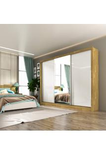 Guarda Roupa Casal 4 Espelhos 3 Portas De Correr 6 Gavetas Toronto Siena Móveis Ipê Rustic/Off White