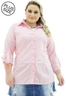 Camisa Tricoline Confidencial Extra Plus Size Listrada Feminina - Feminino-Rosa